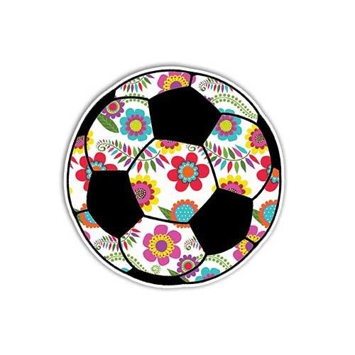 (Soccer Ball Sticker Floral Sport Soccer Decal by Megan J Designs - Laptop Sticker Tumbler Car Decal Vinyl)