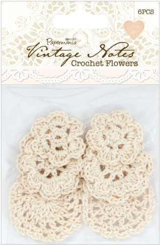 (Papermania Vintage Notes Crochet Flowers 6/Pkg 1 pcs sku# 1775713MA)