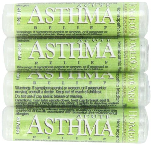 HomeoCare Labs Acute Asthma Relief, 1.2-Ounces 80-Pellet Tube (Pack of 4) (Best Remedy For Asthma Cough)