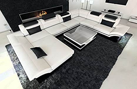 Mega divano componibile enzo xxl led bianco nero: amazon.it: casa