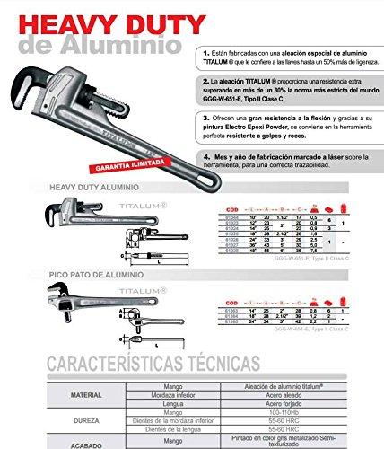 Aluminium Pipe Wrench 10 Titalum Ega Master 61044