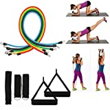 REDGO Set of 11pcs Mountain Products Resistance Band Set with Door Anchor, Ankle Strap, Exercise Chart, and Resistance Band Carrying Case Perfect for Home Travel Gym Outdoors