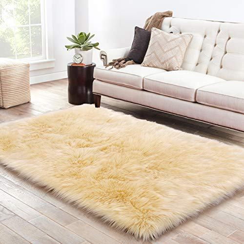 LOCHAS Soft Faux Sheepskin Fluffy Rugs for Bedroom Kids Room, High Pile Faux Fur Area Rug Bedside Floor Carpet Photography, 3x5 Feet Rectangular Light Yellow (Rug Yellow Large Area)