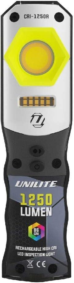 Unilite CRI-1250R USB Rechargeable High Power LED Compact Detailing Inspection Light IP65 1250 Lumen SW UV LEDs 96+ CRI 2700k 4500k 6500k