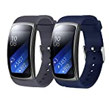 "Bands for Samsung Gear Fit 2 Band/Gear Fit 2 Pro[2-Pack: Gray+Blue], Rukoy Replacement Straps Accessories for Samsung Gear Fit2 Pro SM-R365/ Gear Fit2 SM-R360 Smartwatch (5.9""-7.5"")"