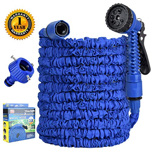 Garden Hose,Expandable Water Hose 50FT,Flexible Garden Hose with 7 Function Spray Nozzle and Solid Fittings,Double Latex Core, Extra Strength Fabric, Lightweight Hose for All Your Watering Needs