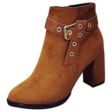 RTRY Zapatos De Mujer Moda Otoño Invierno Pu Botas Botas Cuadra Talón Señaló Mid-Calf Toe Botas De Cremallera Negro Marrón Ocasional US8 / EU39 / UK6 / CN39