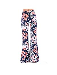 VEZAD Store Wide Leg Loose Pants Women Elastic Waist Floral Printing Causal Trousers