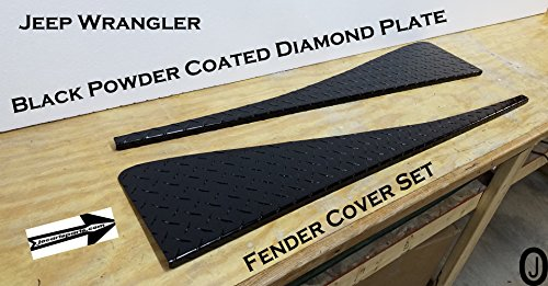 JEEP TJ Black Powder Coated Diamond Plate Full Top Fender Covers With Bend Jeep Wrangler Diamond Plate