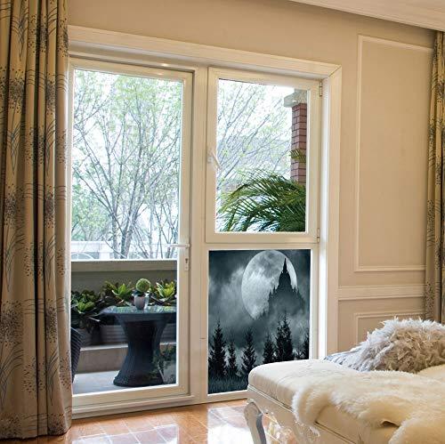 C COABALLA Decorative Privacy Window Film,Halloween,for Fome Bedroom Kitchen Office,Magic Castle Silhouette Over Full Moon Night Fantasy,17''x24'' -