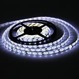 Waterproof Led Strip Lights SMD 3528 16.4 Ft (5M) 300leds 60leds/m White Flexible Tape Lighting Tape Lights for Boats, Bathroom, Mirror, Ceiling and O