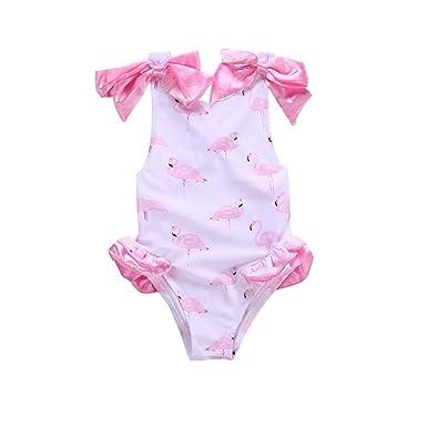 00acb91f32 Toddler Kids Girl Swimsuit Flamingo Ruffle One Piece Halter Bikini Swimwear  Outfits (2-3