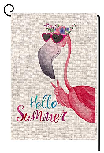 Hello Summer Flamingo Small Garden Flag Vertical Double Sided 12.5 x 18 Inch Floral Beach Burlap Yard Outdoor Decor