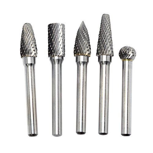 KOTVTM 5Pcs 10MM Head Tungsten Carbide Rotary Burr Set 1/4-Inch Shank Carbide Burrs For Die Grinder Cutting Burs Grinder Drill Metal Polishing