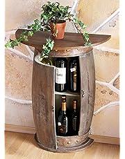 DanDiBo wandtafel, halfrond, tafel, wijnrek, wijnvat 0373-R, bruin, houten kabinet, 73 cm, bijzettafel, console, wandconsole bar