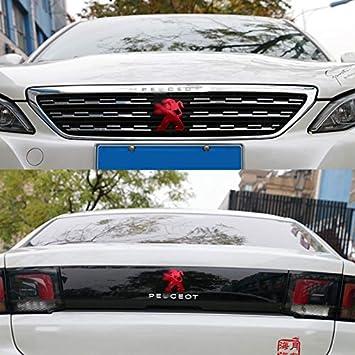 D28JD Embl/ème de Logo pour Le Couvercle du Coffre arri/ère du hayon du Coffre//Grille de radiateur Autocollant Lettres ABS pour 2017-2019 P-eugeot 4008,Rouge