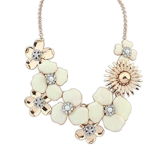 [The Starry Night Easy Dressing Multi Petals Gold Plated Sweet White Flower Princess Necklace Suitable Womens] (Fairy Princess Costume Diy)