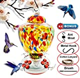 Hummingbird Feeder with Perch - Hand Blown Glass - Orange - 38 Fluid Ounces Hummingbird Nectar Capacity include Hanging Wires and Ant Moat