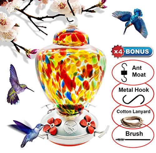 - REZIPO Hummingbird Feeder with Perch - Hand Blown Glass - Orange - 38 Fluid Ounces Hummingbird Nectar Capacity Include Hanging Wires and Moat Hook
