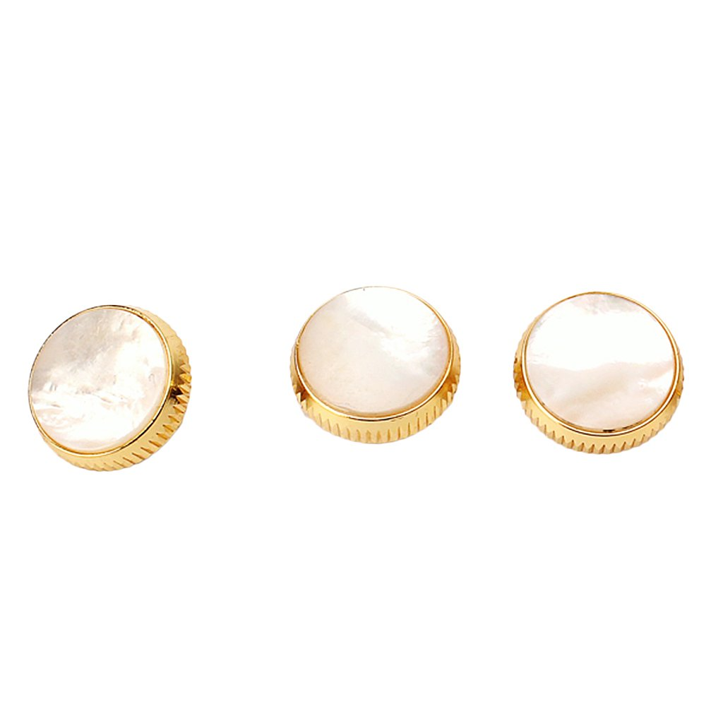 MonkeyJack Replacement Set of 3 Gold Plated White Shell Inlays Trumpet Finger Buttons