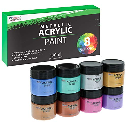 U.S. Art Supply 8 Color Metallic Acrylic Paint Jar Set 100ml Bottles (3.33 fl oz) - Professional Artist Bright Opaque Colors ()