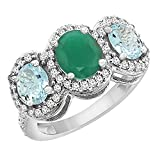 14K White Gold Natural Quality Emerald & Aquamarine 3-stone Mothers Ring Oval Diamond Accent, size 5 - 10
