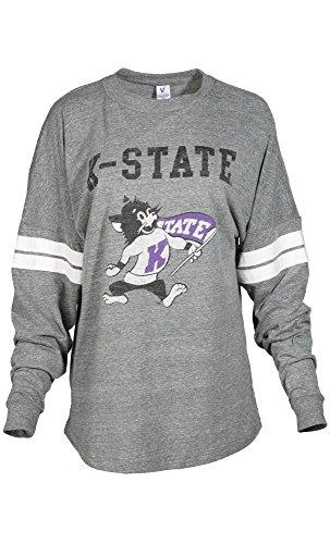 Official NCAA Kansas State University Wildcats KSU K-State Women's Long Sleeve Tri- Blend Football Tee