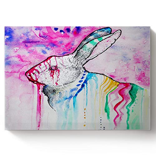 - Arts Language Paint by Number Acrylic Kits for Adults Kids DIY Oil Paintings Canvas Framed Wall Art Decor for Livingroom Bedroom-Watercolour Rabbit Animal Pattern 16x20in