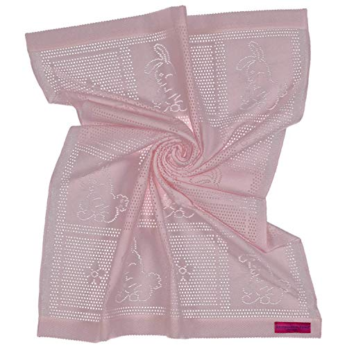 Southampton Home Lace Weave Bunny Baby Blanket (Pink) (Beds Southampton)