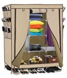 69'' Portable Closet Storage Organizer Clothes Wardrobe Shoe Rack Shelves, Beige