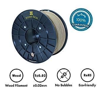 3d impresora filamento pla + 20% real madera fiberes, 2.2 kg (1KG ...