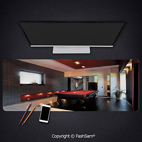 Desk Gaming Mouse Pad Non-Slip House with Snooker Table Hobby Pool Game Flat Furniture Leisure Time Print Keyboard Pad for Computer(W23.6xL15.7) (Best Snooker Player Of All Time)