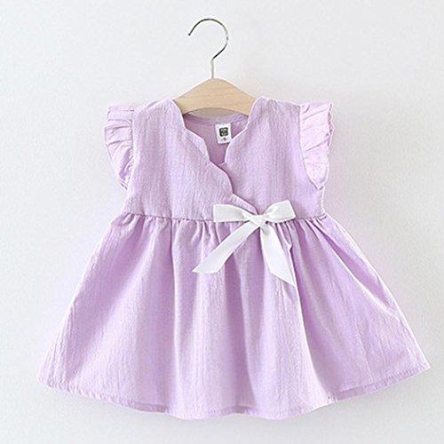 Tefamore kleinkind kinder mädchen ärmellose kleidung party prinzessin bowknot kleider Lila