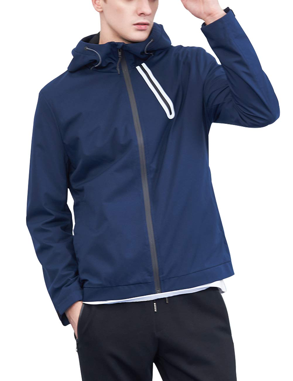 Aoli Ray Men's Hooded Jacket Full-Zip Lightweight Breathable Quick Dry for Sports Running Travelling (Hooded Jacket Navy Blue, S)