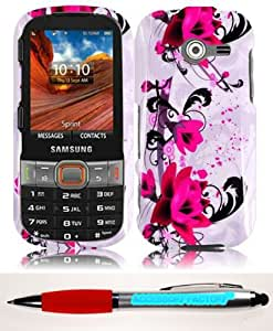 Accessory Factory(TM) Bundle (the item, 2in1 Stylus Point Pen) For Samsung Array Montage M390 Design Cover Case - Purple Lily