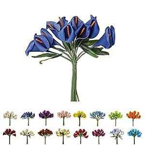 Efavormart 60 pcs Single Stem Artificial Mini Calla Lillies for Wedding Decor - 17 Colors 45