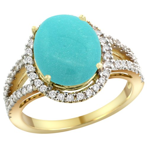 14k Yellow Gold Natural Turquoise Ring Oval 12x10mm Diamond Accents, size 6 6x10mm Oval Turquoise Ring
