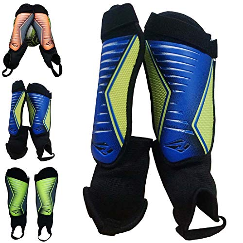 (Rawxy Junior Youth Exceptional Flexible Soft Light Weight Soccer Shin Guards with Ankle Sleeves - Great for Boys Girls (Blue Yellow, Small and Middle))