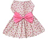 Petroom Elegant Floral Puppy Dog Dress , Sundress Vest Shirt For Small Dogs Cats ,Pink M