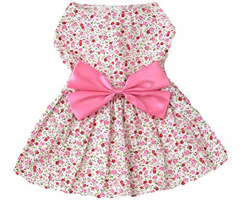 Petroom Sweetie Pup Dog Dress ,Cute Bowknot Shirt For Small Girl Dogs Pink S