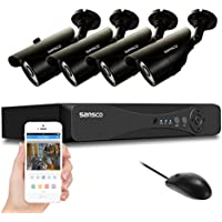 SANSCO CCTV Security Camera System with 8-Channel 1080N DVR and 4 Bullet Cameras ( All Super HD 720p 1MP) Smart Video Surveillance Kit, No HDD Included