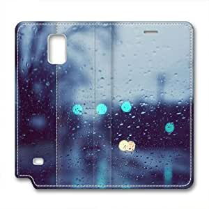 Note 4 leather Case,Note 4 Cases ,After the rain outside the window Custom Note 4 High-grade leather Cases