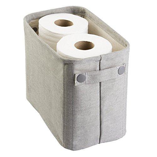 mDesign Aufbewahrungsbox aus Baumwolle für das Bad für Zeitschriften, Toilettenpapier, Handtücher - Groß, Hellgrau