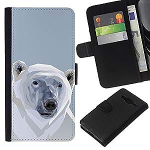 LECELL--Cuero de la tarjeta la carpeta del tirón Smartphone Slots Protección Holder For Samsung Galaxy Core Prime -- Polígono Oso Polar --