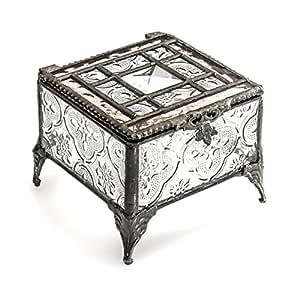 J Devlin Glass Art Box 354-2 Pink Rose Tiffany Glass Jewelry Box Keepsake Gift for Mom Square Decorative Box
