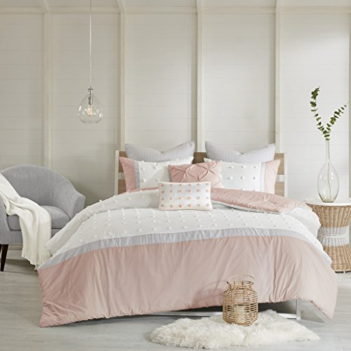 Urban Habitat Myla Comforter Reversible Cotton Jacquard Dots Soft Down Alternative Hypoallergenic Pintuck Tufted Decor Pillow Quilted Sham All Season Bedding-Set, Full/Queen, Blush