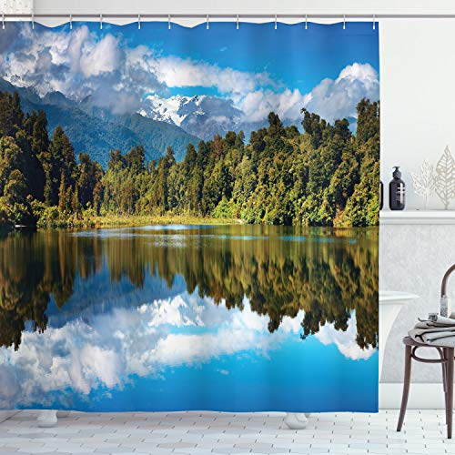 Ambesonne Lake House Decor Collection, Mirror Reflection on Lake by The Forest -