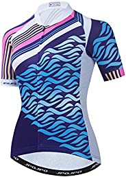 JPOJPO Women's Cycling Jersey Short Sleeve Breathable Bicycle Shirt Tops Reflective with Three Poc