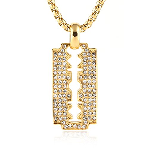 - HZMAN Mens 18k Gold Plated Iced Out CZ Razor Blades Stainless Double Edge Pendant Hip Hop 24
