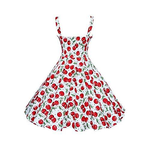 21d73a77f Botomi Women  s vintage años 50 Hepburn Classique cereza vestido patrón  swing ...